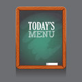 Cafe or restaurant menu chalkboard in wooden frame, on the wall, with peace of chalk. Vector illustration.