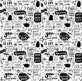Cafe seamless pattern. Hand drawn tea and coffee pots, desserts and inspirational captions. Menu cover design, wallpaper