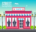 Cafe shop building in city space with road on flat syle background concept. Vector illustration design