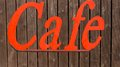 Cafe sign in bright red bold lettering Royalty Free Stock Photography