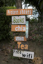 Cafe sign entrance selling coffee tea and drinks Stock Photo