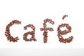 Cafe sign made of coffee beans Royalty Free Stock Photos
