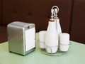 Cafe table top set pepper and salt shakers bottles for oil and vinegar napkin holder Stock Images