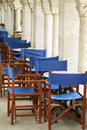 Cafe tables in the columned ha Royalty Free Stock Photos