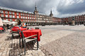 Cafe tables with in Plaza Mayor Royalty Free Stock Images