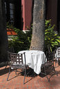 Cafe terrace outdoor dining table on a Royalty Free Stock Image
