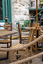 Cafe terrace outdoor dining table on a Royalty Free Stock Photos