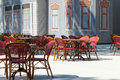 Cafe terrace with tables and chair street view of a chairs Royalty Free Stock Image