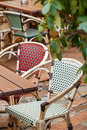 Cafe terrace with tables and chair street view of a chairs Royalty Free Stock Photo