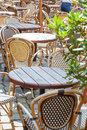 Cafe terrace with tables and chair street view of a chairs Royalty Free Stock Photography