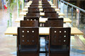 Cafeteria interior an empty table and chair Royalty Free Stock Images