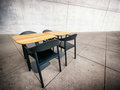 Cafeteria table and chairs at a modern empty photo Royalty Free Stock Photo