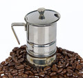 Caffè-macchina con il caffè-fagiolo Fotografia Stock Libera da Diritti