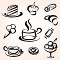 Caffe bakery and other sweet pastry icons set Royalty Free Stock Image