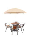 Caffe table chair parasol,isolated on white background Royalty Free Stock Photo