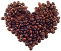 Caffee beans heart Royalty Free Stock Photography
