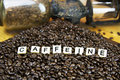 Caffeine coffee game tiles set in beans with antique grinder in background Stock Images