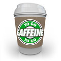 Caffeine coffee plastic cup drink drive thru to go the words on a from a cafe or restaurant Royalty Free Stock Images
