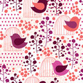 Cage and bird seamless pattern floral Stock Photo