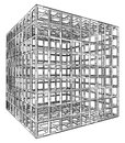 Cage box cube vector isolated illustration Royalty Free Stock Photography