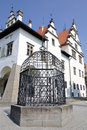 Cage of shame in levoca slovakia punishment outside the old town hall is on the list unesco Stock Photography