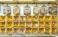 Cages à oiseaux chez yuen po street bird garden en hong kong Photos libres de droits