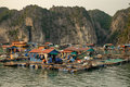 Cai Beo floating village on sunset in Ha Long Bay Royalty Free Stock Photo