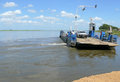 Caia mozambique december the zambezi river sailing to other side of ferry with car in unknown Stock Photos