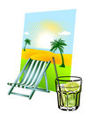 Caipirinha and deck chair Royalty Free Stock Photos