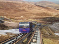 Cairngorm mountain railway one train on the passing loop part of the track of the s which is scotland s only or Royalty Free Stock Image