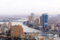 Cairo cityscape egypt februar with national bank of egypt in on februar with national bank big blue buildings in Stock Photos