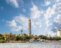 Cairo tower cairo on the nile in egypt with river view Royalty Free Stock Photography