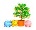 Caixa de moeda, valor ao redor de uma árvore gold-bearing Fotografia de Stock