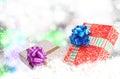 Cajas del año nuevo holiday christmas gift Imágenes de archivo libres de regalías