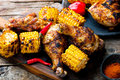 Cajun Chicken and Corn. Royalty Free Stock Photo