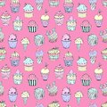 Vector illustration of a seamless pattern of cakes of different colors and shapes. Cupcakes with fillings and details