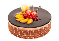 Cake with berries, fruit and chocolate Royalty Free Stock Photo