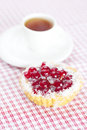 Cake with berries and tea on plaid fabric Royalty Free Stock Photos