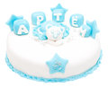 Cake on the birth of a child named artem isolated Royalty Free Stock Images