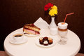 Cake candies coffee ready couple cafe Royalty Free Stock Photo