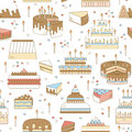 Cake with candle vector icon line seamless pattern. Sweet dessert illustration. Happy birthday wedding party celebration