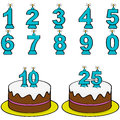 Cake and candles cartoon illustration showing a from to to form different numbers Royalty Free Stock Photography