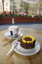 Cake and cappuccino Royalty Free Stock Images