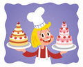 Cake chef little girl Royalty Free Stock Images