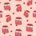 Cake cherry sweet on a pink background. Seamless pattern for design. Animation illustrations. Handwork Royalty Free Stock Photo