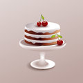 Cake with cherry vector illustration of a Royalty Free Stock Photo