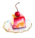 Cake with cherry watercolor illustration of Stock Image