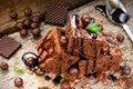 Cake Chocolate Brownies On Woo...