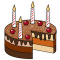 Cake chocolate candles cherries isolated candles with and lit on the top missing slice white eps file is available Royalty Free Stock Photography