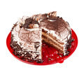 Cake chocolate on red plate Royalty Free Stock Image